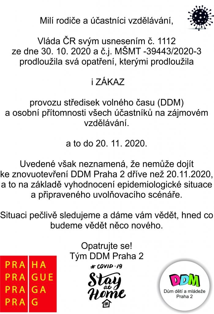Prodloužení uzavření DDM do 20. 11. 2020!